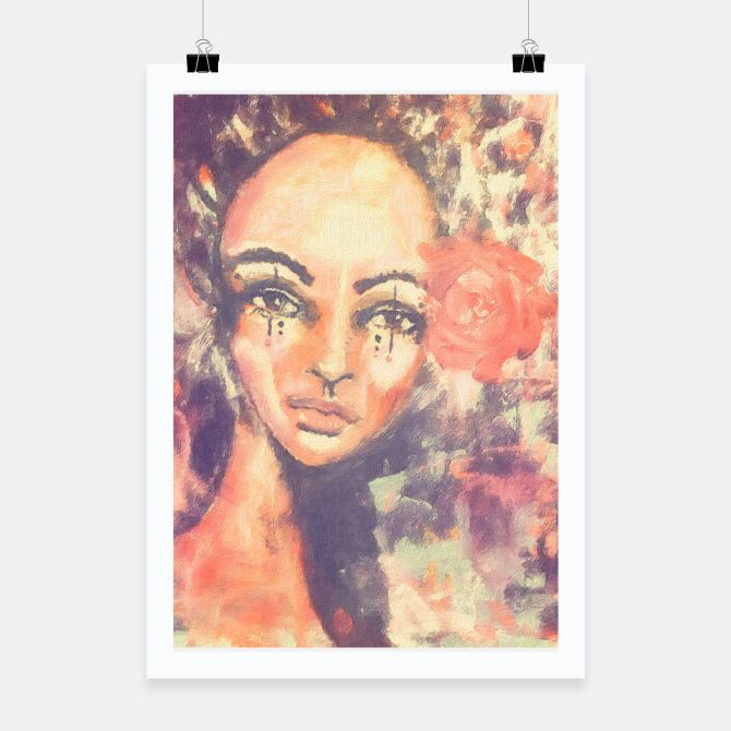 Woman with rose Poster