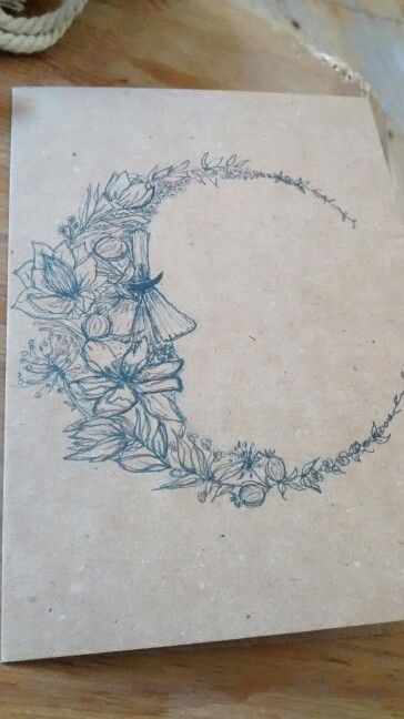 floral crescent moon illustration - message for requests
