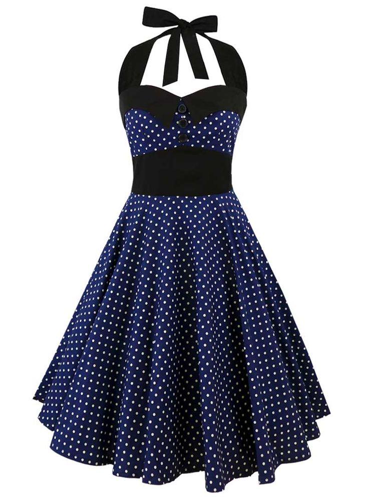 "Robe Rockabilly Retro Vintage ""Ashley Dark Blue White mini polka dots"" - rockangehell.com"