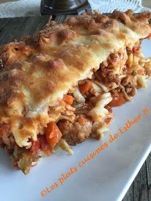 Les plats cuisinés de Esther B: Fusillis gratinés, sauce bolognaise