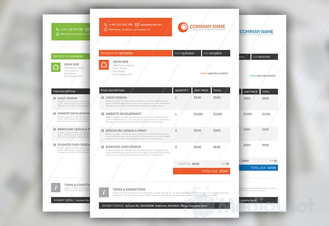 Stylish Business Client Pack Template, Business resume and Fonts - web invoice