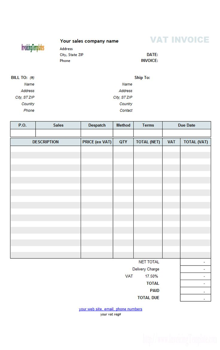 VAT Sales Invoicing Sample Price Excluding Tax Invoice