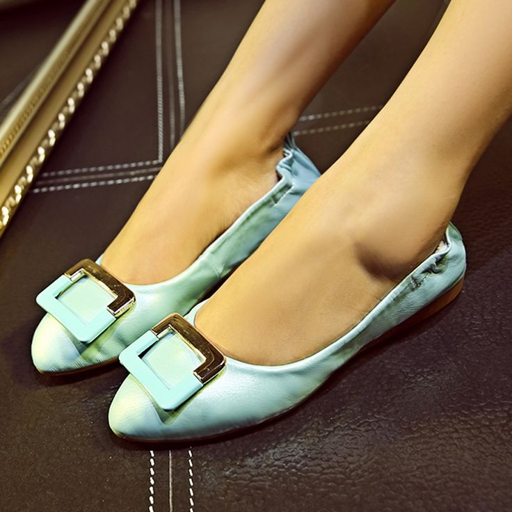 Aliexpress.com : Buy 2016 Soft Leather Flats Women Pink Blue White Color  Sequined Slip