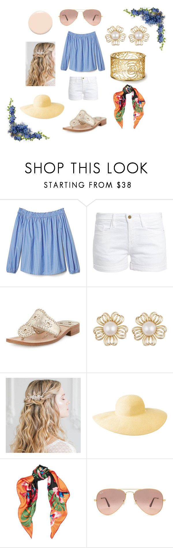 """Spring-Summer 2017 Picnic Outfit"" by ceceliahamp on Polyvore featuring Frame, Jack Rogers, Columbia, Valentino, Ray-Ban and Christian Dior"