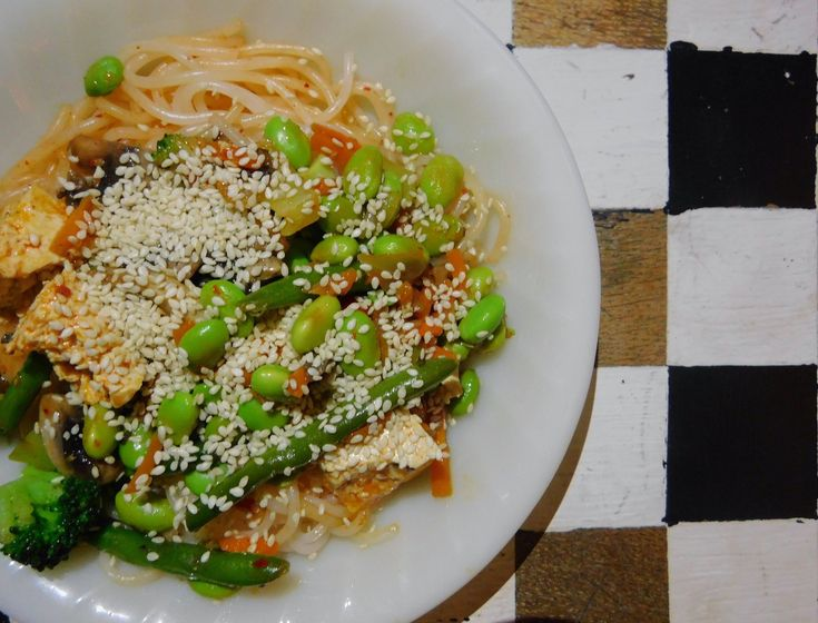 Stir Fry with Liquid Kimchi Dressing and Nona Lim Laska Rice Noodles