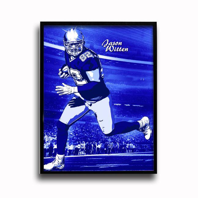 The Dallas Cowboys Jason Witten Pop Art Poster designed by Team Spirit Store artist, Brian Konnick. Features Cowboys legend and NFL great Jason Witten!