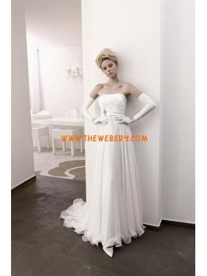 decente senza spalline abito da sposa in chiffon di perline 2013