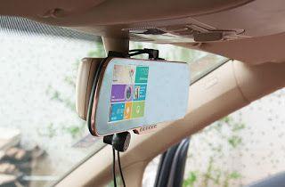 """Ultimate China Gadgets: Espejo retrovisor Android con pantalla táctil de 5"""",GPS, DVR y cámara trasera para vista en reversa y parqueo"""