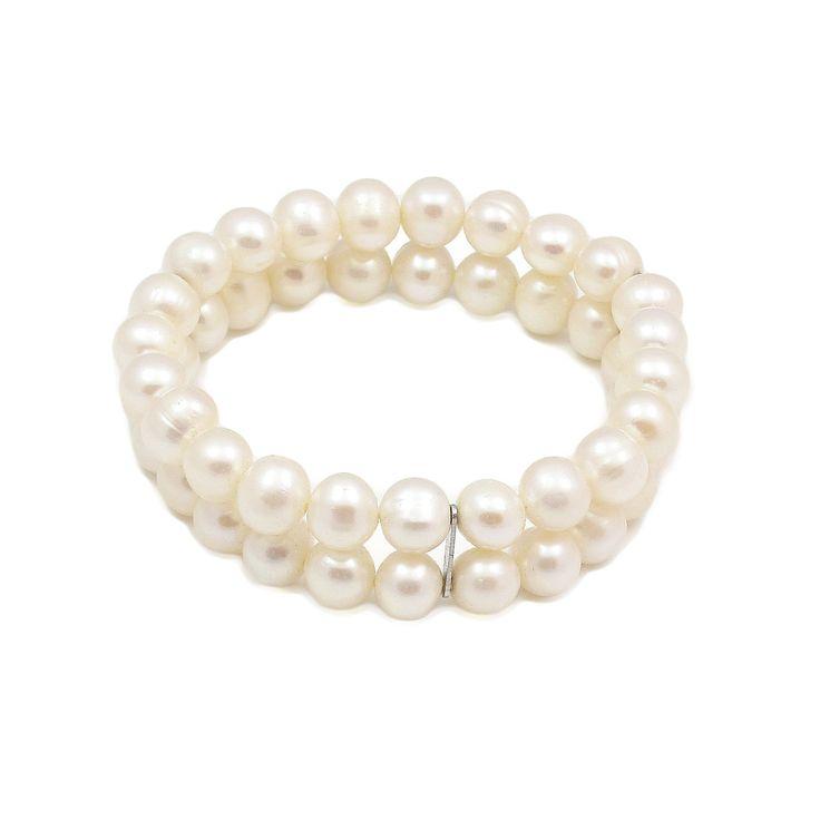 Brățară dublă ZEEme argint cu perle de cultură albe