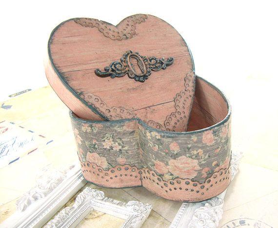 Victorian heart trinket box. Shabby chic decoupage jewelry box.