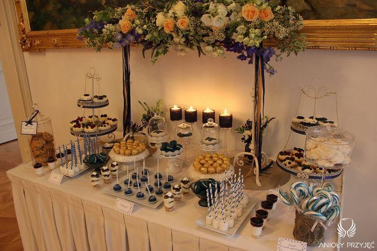 19. Navy Gold Wedding,Sweet table decor   Sweets / Granatowo - złote wesele,Dekoracja słodkiego stołu,Anioły Przyjęć