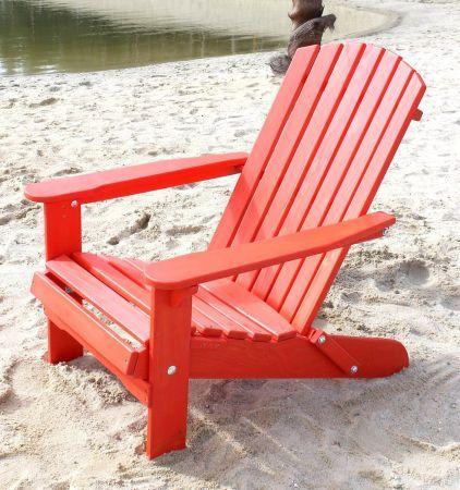 DanDiBo Strandstuhl Sonnenstuhl aus Holz Rot Gartenstuhl klappbar Adirondack Chair Deckchair-DanDiBo