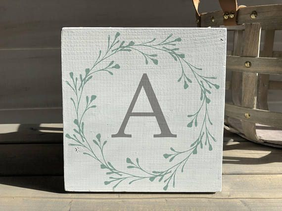 farmhouse-farmhouse sign-initial sign-wreath sign-initial