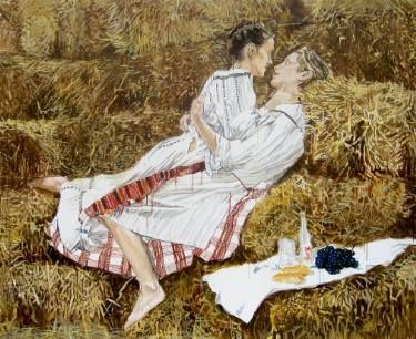 """Saatchi Art Artist Helena Janecic; Painting, """"in the hay SOLD"""" #art"""