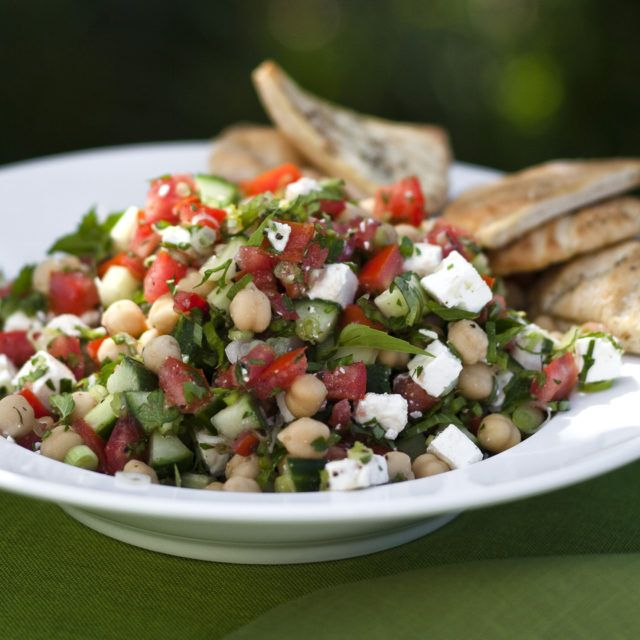Middle Eastern Vegetable Salad - Barefoot Contessa - Skipped the mint + basil and used all parsley instead. Added 1/2 tsp. of cumin, and sumac, 1 tbsp capers and some pickled banana peppers. -hg