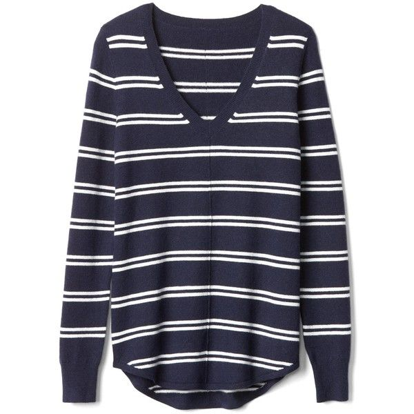 Gap Women Stripe Deep V Neck Sweater ($60) ❤ liked on Polyvore featuring tops, sweaters, deep v-neck sweaters, v neck sweater, gap sweaters, striped sweater and low v neck sweater