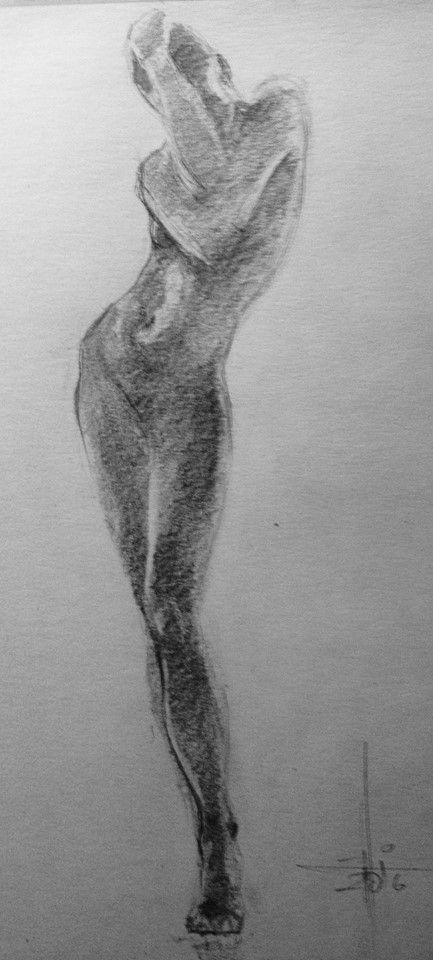 Dibujo a lapiz grafito de una figura a contraluz