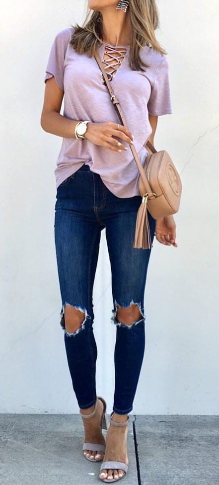 """#fall #outfits  My Grommet Lace Up Top Is Around 30 Bucks And Comes In Other Colors Too!! My Jeans Got Restocked, Friends!To Shop, Tap The Link In My Bio And Select """"shop My Instagram"""" Wearing Size Extra Small For ReferenceToday Is The First Day That I've Boarded A Plane Without My Kids Or Husband. I Feel Such A Mix Of Excitement And Loneliness All At Once!❤️✨The Drive From Missouri To Arkansas Took My Breath Away. The Sprawling Trees And Green Hills Are Absolutely Stunning. Creation I"""