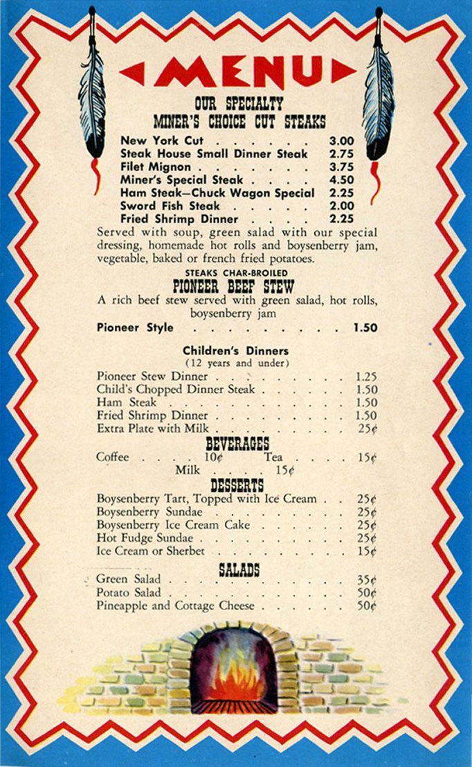Knott s Berry Farm Ghost Town Grill menu Pinterest