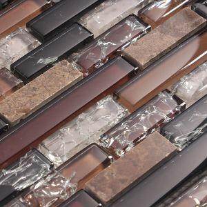 Rich Tobacco Colors Blended With Black Glass Tile Cracked Glass Tile Backsplash Tile