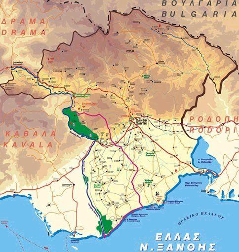 Χάρτης Νομού Ξάνθης