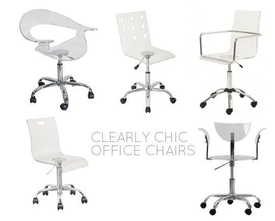 Clearly Chic: 5 Clear Desk Chairs for Small Workspaces from $69 !!!  Love these for my desk because they don't visually take up space!