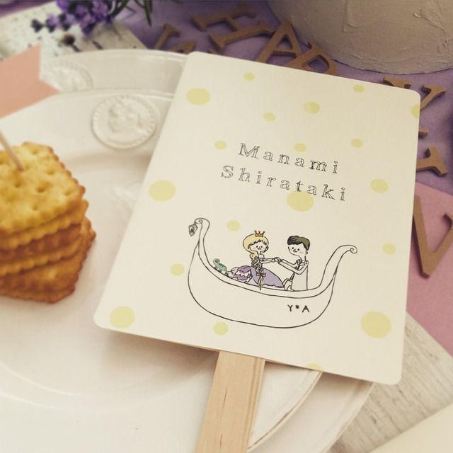 【席札 & Menu】DesignA うちわタイプ  10枚set | HATTI Wedding Shop