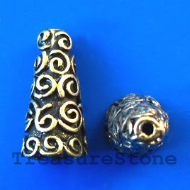 Cone, antiqued brass finished, 18x9mm. pkg of 6.