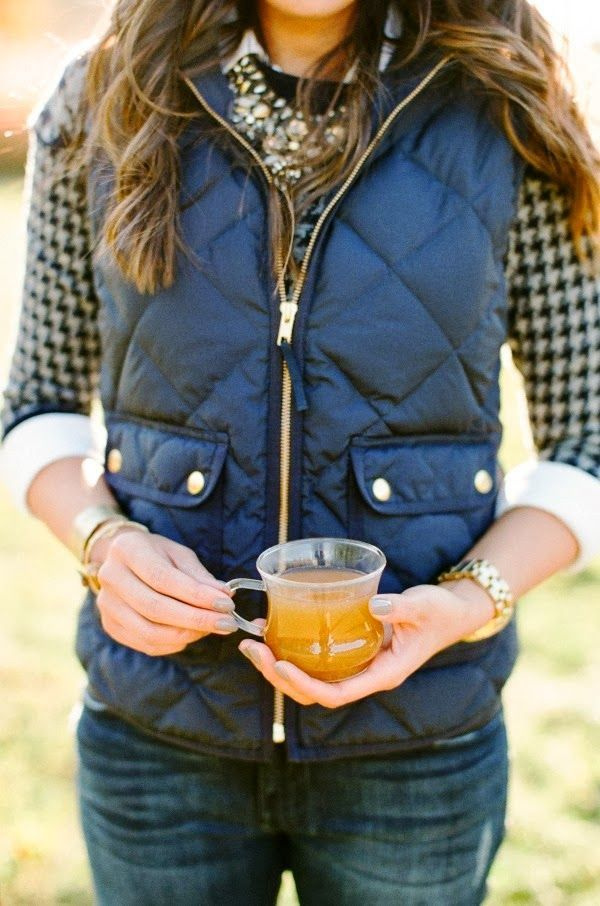 Cute vest, denim jeans, plaid shirt. Fall fashion trends 2015.