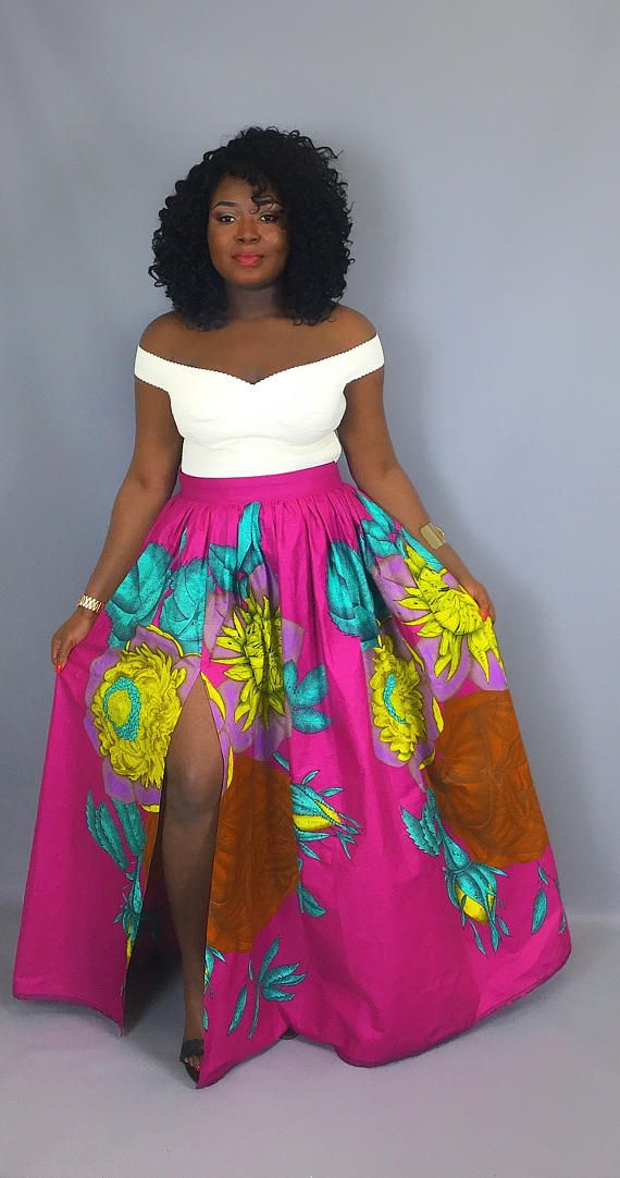 This maxi skirt is made of 100% authentic Vlisco Wax print . Has pockets and a front slit .  XS – Bust:32 Waist: 25 Hips: 35 (US Size:4, UK Size: 8) S – Bust:34 Waist: 27 Hips: 37 (US Size:6, UK Size: 10) M – Bust:36 Waist: 29 Hips: 39 (US Size:8, UK Size: 12) L – Bust: 38 Waist: 31 Hip: 41 (US Size:10, UK Size: 14) XL – Bust:40 Waist: 33 Hips: 43 (US Size:12, UK Size: 16) 1X – Bust:43 Waist: 36 Hips: 46 (US Size:14, UK Size: 18) 2X – Bust: 46 Waist: 39 Hips: 49 (US Size:16, UK Size: 20) 3X…