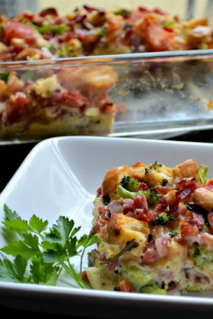 """Dad's Day Strata   """"I wanted to make my husband a nice Father's Day brunch, but we were in dire need of a trip to the grocery store. I scrounged what we had in the kitchen, and the Dad's Day Strata was born! It turned out very yummy and is very easy."""" #recipe #entertaining #holidays"""