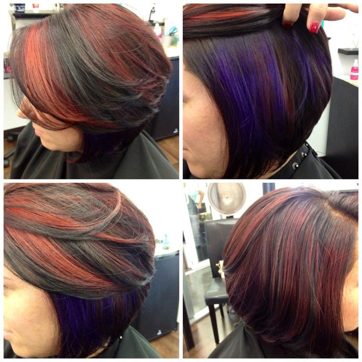 graduated bob haircuts highlights vibrant purple highlights chunky 1343