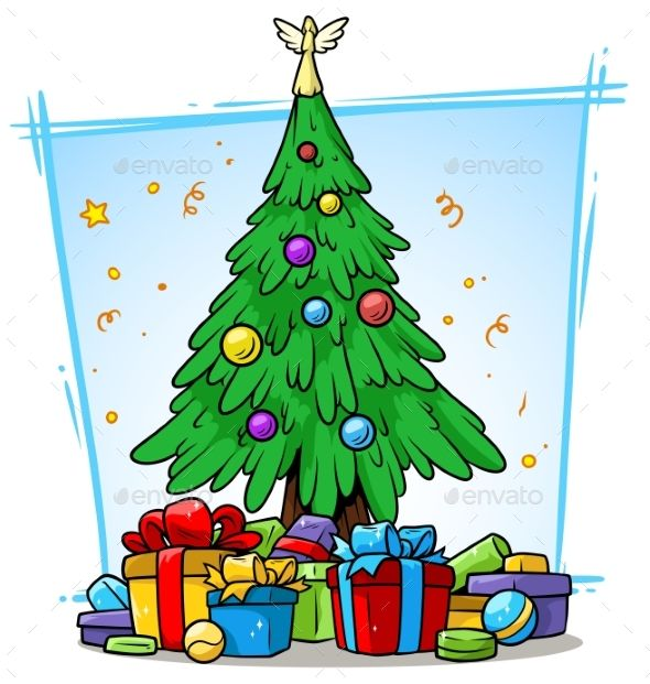 Cartoon Christmas Tree With Balls And Gift Boxes Cartoon Christmas Tree Merry Christmas Pictures Christmas Tree Decorations