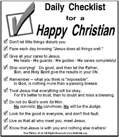 Daily Checklist For A Happy Christian Checklists Lists
