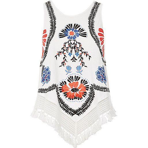 White floral fringe hem tank top - tank tops - tops - women