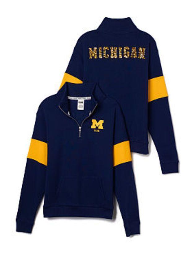 University of Michigan Bling Half-Zip Pullover - PINK - Victoria's Secret