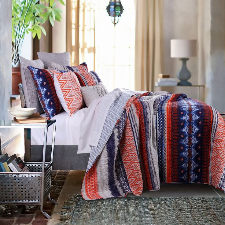 Greenland Home Fashions Urban Boho Oversized Cotton 3-piece King Size Quilt Set