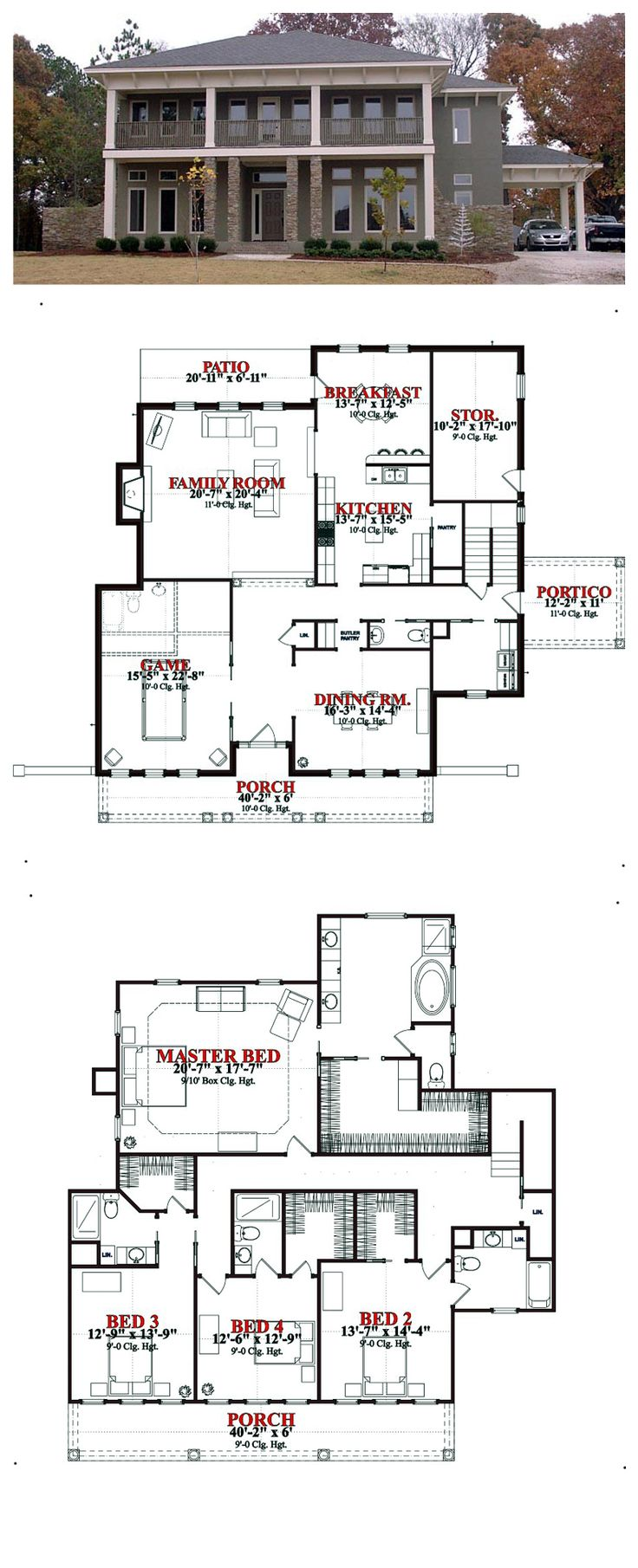 Plantation House Plan 78830 | Total Living Area: 4007 sq ft, 4 bedrooms & 4.5 bathrooms. #plantationhouse #houseplan