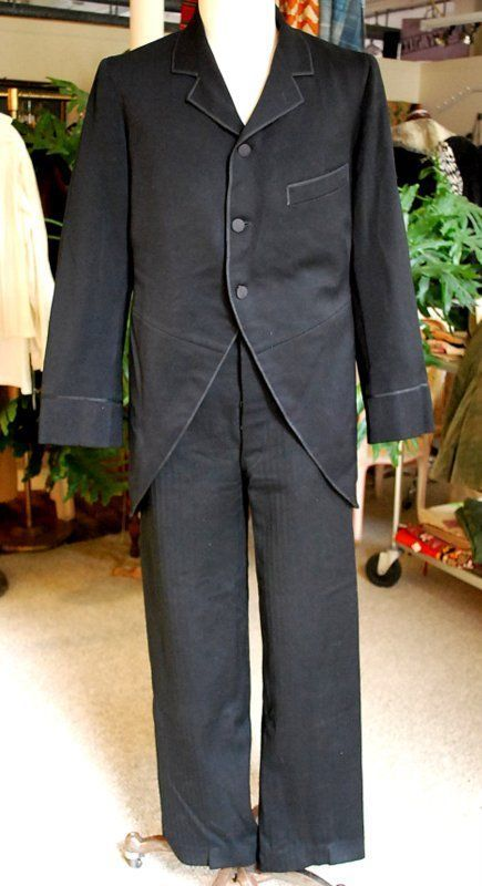 1890 RARE GENTS SUIT W/CUT AWAY THREE BUTTON FRONT JACKET BUCKLE BACK TROUSERS | eBay