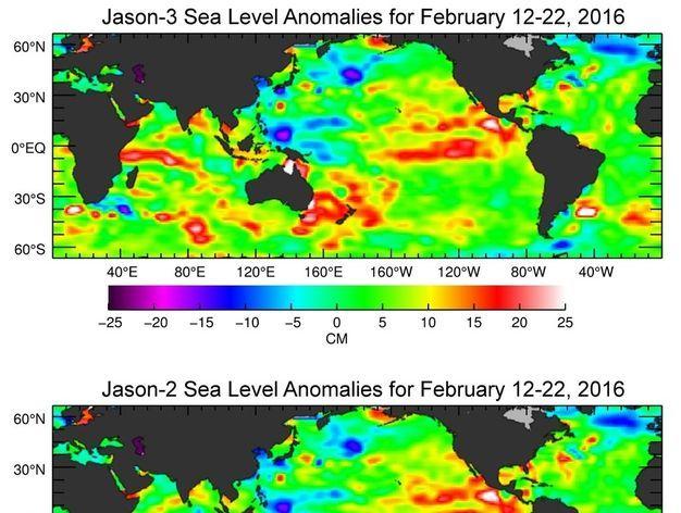 Jason-3, la nueva misión de oceanografía por satélite de EE.UU. y Europa, ha producido su primer mapa de altura global de la superficie del mar, que muestra claramente la señal de El Niño 2015-16.