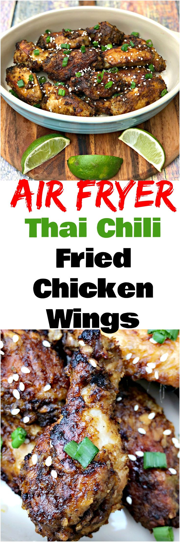 Air Fryer Thai Chili Fried Chicken Wings is a quick and easy recipe for crispy, breaded chicken with a sesame, soy sauce, and ginger glaze. Perfect appetizer recipe for game days, tailgates, Superbowl, parties, and events. #AirFryer #AirFryerRecipes #ChickenWings #GameDay #Appetizers #SuperbowlAppetizers