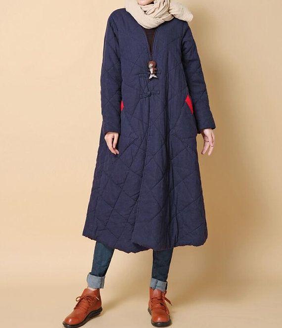 Winter warm loose padded long Overcoat/ dark blue/ red by MaLieb