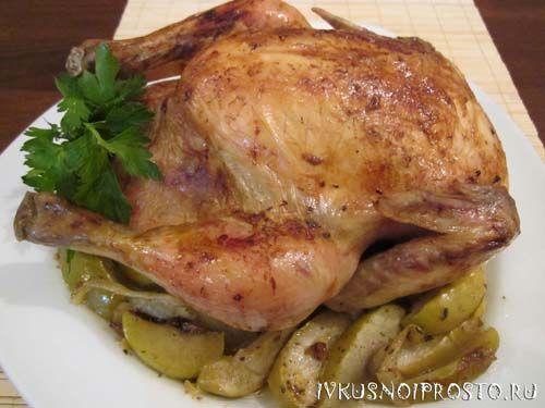 Курица с яблоками в духовке