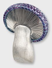 Hemmerle mushroom brooch with purple sapphires, white gold and silver