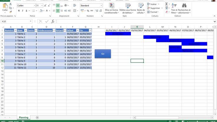 Diagramme de Gantt basique avec Excel