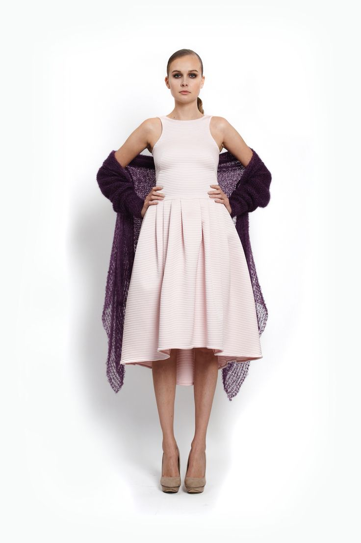 ocassion dress and handknitted cardigan, design Lucie Kutálková/ LEEDA