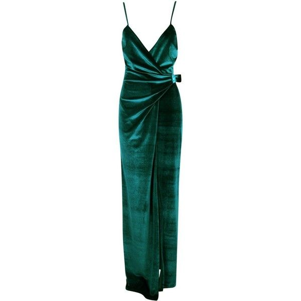 Boohoo Niamh Velvet Wrap & Tie Detail Maxi Dress | Boohoo (£35) ❤ liked on Polyvore featuring dresses, green maxi dress, maxi dress, wrap maxi dress, green dress and tie-dye maxi dresses