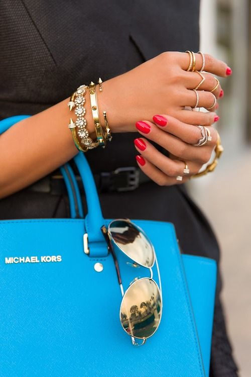 bright blue michael kors purse, red nails, gold accessories | www.pinterest.com/versique/womens-corporate-business-fashion-attire-community/