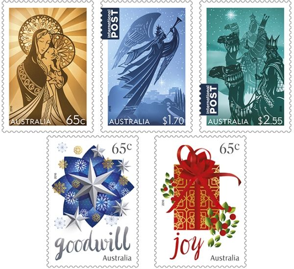 This year's Australian Christmas 2016 stamps depict three episodes from the familiar biblical story of the birth of Christ.