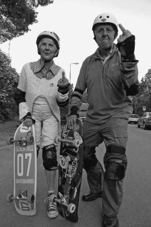 this is me and my husband now! we've started skateboarding in our 30's and 40's :D